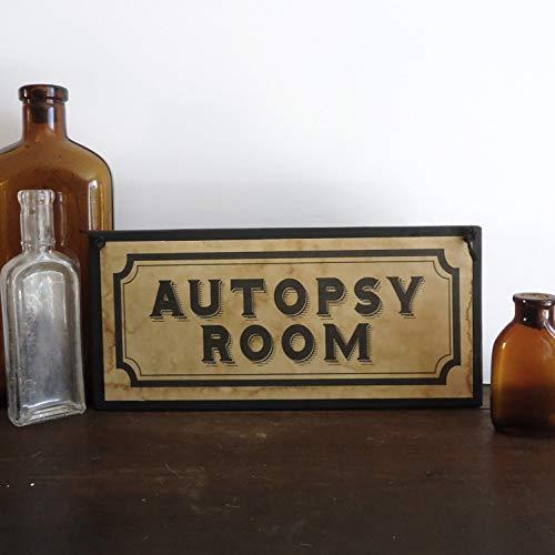 MarthaFox Halloween Haunted House Sign Autopsy Room Halloween Party Decor Creepy Asylum Door Sign Photo Prop Vintage Apothecary Spooky Display -