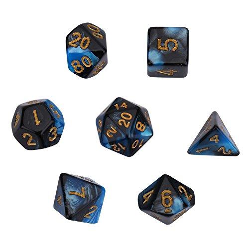 多面体ダイス DNDダイス クリアダイス ダイスセット おもちゃ 7個 高品質 耐久性 (ブルー)