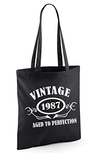 VINTAGE 1987 TOILE Noir EN SAC TESqgw