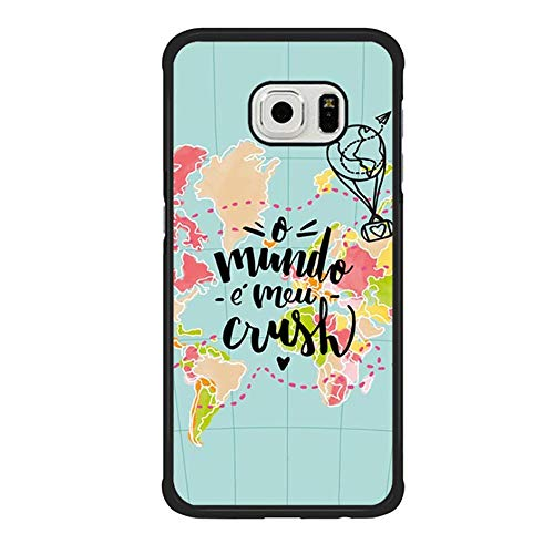 Skinsends Cool World Map Love Travel Phone case Compatible with Samsung S6 Edge, o Mundo e MEU Crush Hard Back Compatible with Samsung Galaxy S6 Edge -
