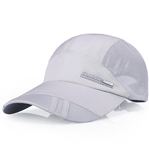 Cap Embroidered Screen Print - Adult Mesh Hat Quick-Dry Collapsible Sun Hat Outdoor Sunscreen Baseball Cap (Light Gray)