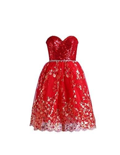 YiYaDawn - Vestido - trapecio - para mujer Rojo