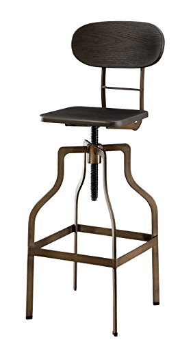 Furniture of America Alavus Industrial Height-Adjustable Swivel Barstool, Dark Brown