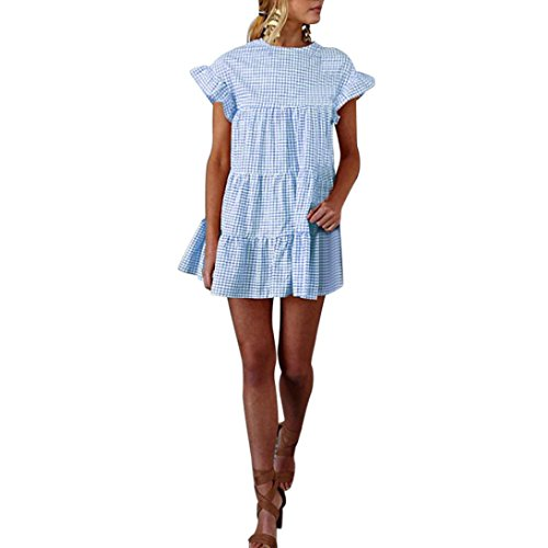 HODOD Summer Women's Ladies Plaid Printing O-Neck Short Sleeve Mini Dress L Blue