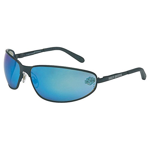 Harley-Davidson HD510 Safety Glasses with Black Matte Frame and Blue Mirror Tint Hardcoat Lens