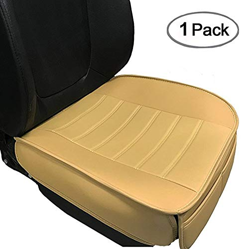 Car Seat Cushion, 1PC Edge Wrapping Car Interior PU Leather Car Seat Cushions Protector Front Car Seat Covers, Single Seat Cushion Cover Pad Mat for Auto Four-door sedan & SUV Driver Seat(Beige) - Vision Seat Cover