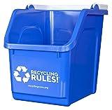 4 Pack of Bins - Blue Stackable Recycling Bin