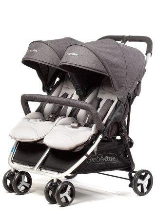Silla gemelar Dual + Barra delantera + Colchonetas en color gris + Burbuja de lluvia: Amazon.es: Bebé