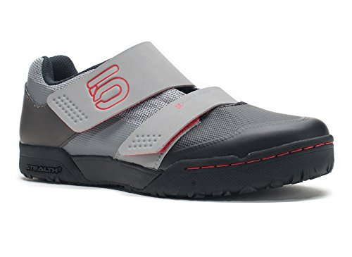 Five Ten Men's Maltese Falcon LT Clipless Bike Shoe,Mono Grey/Red,10.5 D - Bike Textile