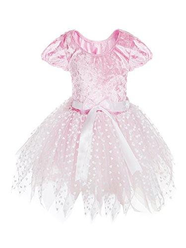 [MAGIC TOWN Little Short Sleeve Girls' Princess Dresses Costume (4T,Pink)] (Short Sleeve Costumes)