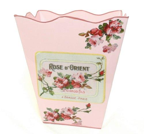 French Floral Decor Wastebasket, Trashcan, Trash Holder Bask