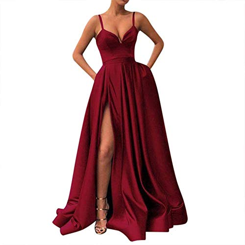 Fanciest Women's Spaghetti Straps Slit Satin Prom Evening Dresses with Pockets Burgundy US16 ()