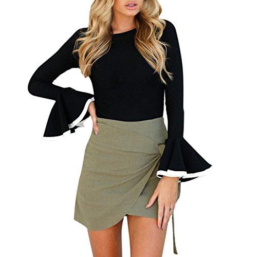Han Shi Blouse, Fashion Women Ruffle Frill Long Sleeve Tops Antumn Casual Cotton Shirt (XL=(US L), Black)