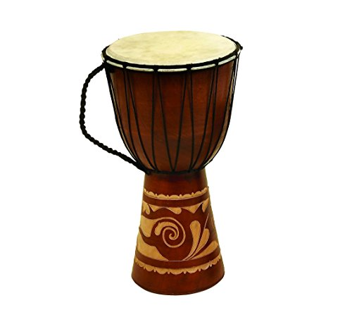 Deco 79 89847 Wood Leather Djembe Drum Home Décor Product, - Hand Indian Drums