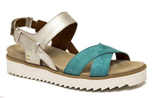 Camoscio Benvado Sandalo Azzurro Laminato Oro Francy E Turchese 7rrqwES