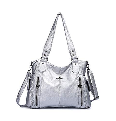 DEERWORD Women's Top-Handle Bags Handbags Hobos Shoulder Bags PU Leather Birkin Convertible Silver