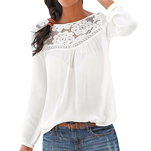 (POHOK Women Long Sleeve Casual Lace Patchwork Tops Blouse White)