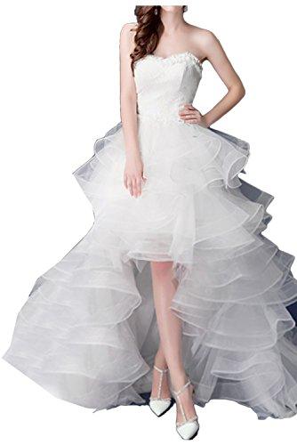 Promgirl House Damen Modisch Hi-Lo Tüll Spitze Brautkleider Lang Hochzeitskleider Herz-Ausschnitte 2017