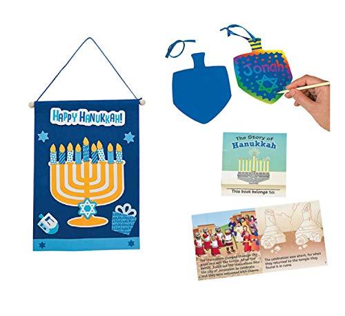 Hanukkah Banner Craft Kit, Colorful Scratch Dreidels Set of 2, and The Story of Hanukkah Reader Set for Kids
