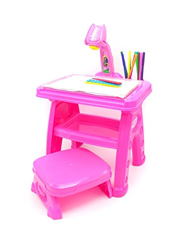 Little Treasures Projector Creativity Desk/Easel with Seat, Artist Learning Set Includes 3 Lantern Slides, 24 Patterns/12 Water Pens, Table Lamp/Painting Activities, Pink by Little Treasures