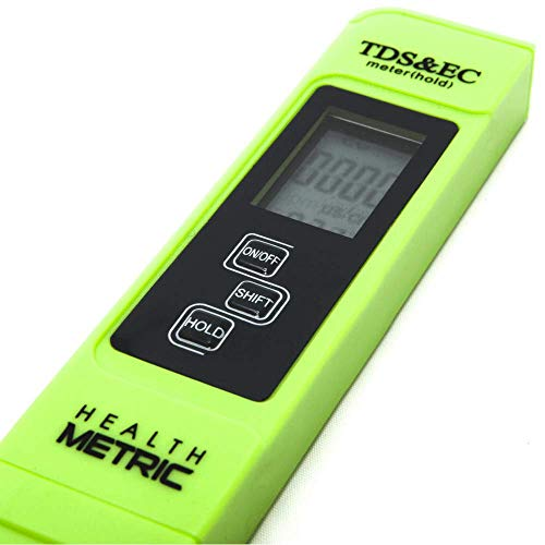 Professional TDS ppm Meter | Digital Test Pen Combines EC, TDS & Temp (3-in-1) | 0-9999 ppm & ± 2% Accuracy | Quick and Easy Testing For Hydroponics, Ro System, Pool, Aquarium, Spa and Water Hardness by Health Metric