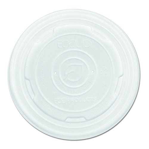 Eco-Products Renewable & Compostable Food Container Lids, Fits 12, 16, 32 oz Sizes, Case of 500 (EP-ECOLID-SPL)