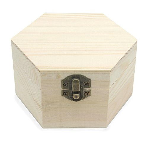 AVESON Plain Unfinished Box, Hexagon Unpainted Wooden Jewelry Box DIY Storage Chest Treasure Toy Case 2.5