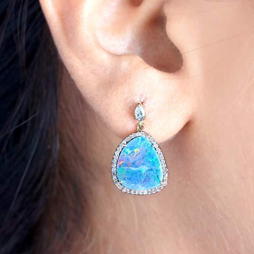 Solid 14k Rose Gold Boulder Opal Gemstone Dangle Earrings Pave Diamond Handmade Fine Jewelry Valentine Gift For Lover