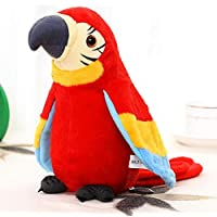 Feel Soon Retail Talking Parrot Repeats What You Say Cute Parrot Doll to Follow Any Words (RED)