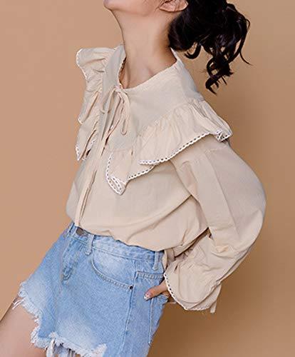 Unita di Moda Donne T Primavera Maglie Foglia Casual Fashion Maglietta Camicie a Bluse Simple e Rotondo Lato Cachi Collo Giovane Lunga Autunno Tops Loto Manica Tinta Shirts pP68xqTwX