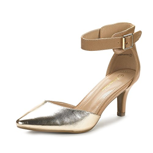 DREAM PAIRS Women's Lowpointed Gold Nude Low Heel Dress Pump Shoes - 6 M US