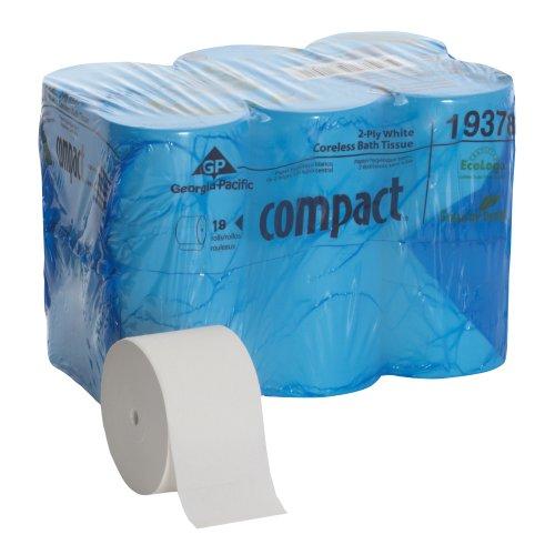 Ply Coreless Bathroom Tissue (Georgia-Pacific Compact 19378 Coreless High Capacity 2-Ply Bathroom Tissue (Case of 18 Rolls 1500 Sheets Per)
