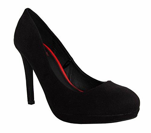 MTNG Zapatos de Tacón de Mujer 51209 Afelpado Negro