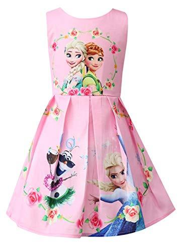 Girls Unicorn Frozen Birthday Party Dress Costumes Fancy Dress up (Frozen Pink, 3-4Y)]()