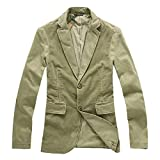Comaba Men's Patched Premium Cotton Corduroy Retro Blazer Suit Coat Khaki XL