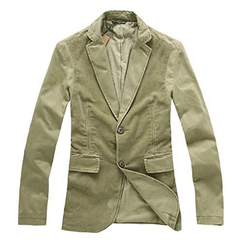 Comaba Men's Patched Premium Cotton Corduroy Retro Blazer Suit Coat Khaki XL by Comaba