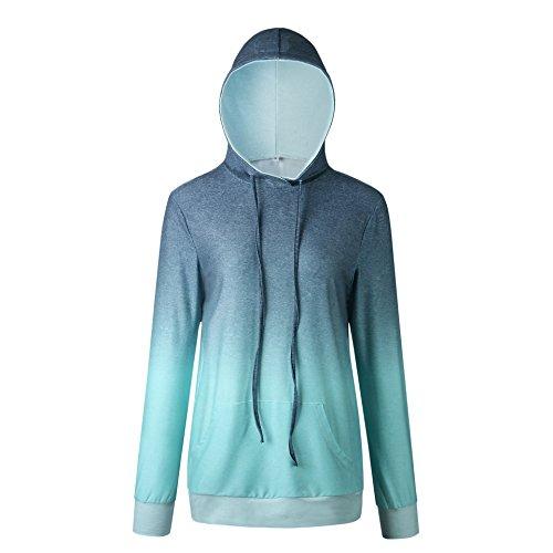 Casual con Hoodies Hoodies Hoodies Lunga Primavera Blu Pullover Sweatshirt Bluse Bluse Bluse Manica Pendenza Autunno Maglione Felpe Cappuccio Jumpers Cime Moda e Tops Donne wR8q8ZYn