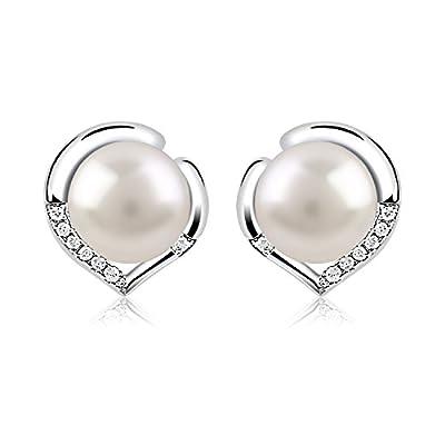 B.Catcher Pearl Earrings Freshwater 10mm Pearl Studs Earring Heart Set