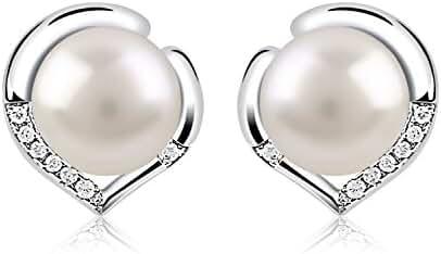 B.Catcher Women Silver Pearl Earrings 925 Sterling Silver Freshwater 10mm Pearl Studs Earrings Heart Set