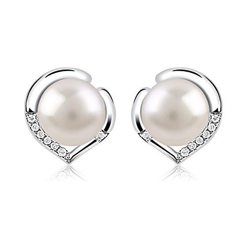 B.Catcher Silver Pearl Earrings 925 Sterling Silver Freshwater 8mm Pearl Studs Earrings Heart Set Gift by B.Catcher
