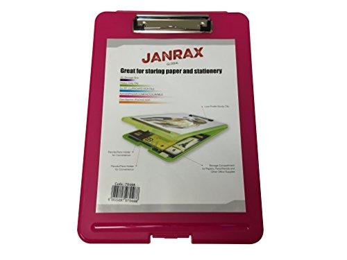 Janrax A4 Pink Clipboard Box File - Storage Filing Case (Pink Clipboard Storage Box)