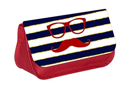 (Hipster Elements on Gilded Stripes - Red Cosmetic Case - Makeup Bag - with 2 Zippered Pockets)