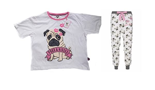 Love to Lounge Señoras Niñas Pijama Carlino Pugs & Kisses Blanco Pug Dog S: Amazon.es: Ropa y accesorios