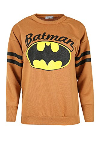 - Womens Ladies Batman Print Long Stripe Sleeves Round Neck Fleece Sweatshirt Top
