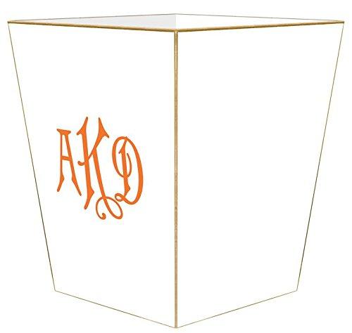 WB8650-Custom Orange Monogram on White Wastepaper Basket Gold Trim-2