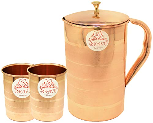 SKAVIJ Pure Copper Pitcher 2 Tumblers Set Luxury Style Water Jug (54 Ounce, 8 Inch)