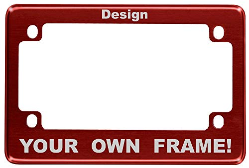 (Motorcycle Custom Anodized Aluminum License Plate Frame - Red )