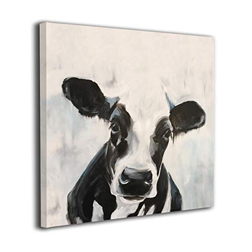 Arnold Glenn Black and White Cow Picture Paintings Canvas Wall Art Prints Modern Home Decoration Giclee Artwork-Wood Frame Gallery Stretched