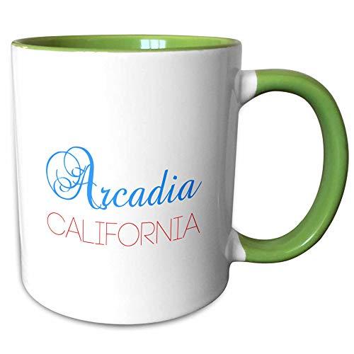 3dRose Alexis Design - American Cities California - Arcadia, California, red, blue text. Patriotic home town design - 15oz Two-Tone Green Mug (mug_302740_12)