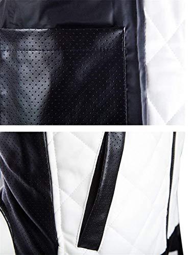 Cerniera Cerniera Cerniera Giacca Giacca Giacca Giacca in Giacca Giacca Pu in Artistica da da Uomo Pelle in Moto Finta Collo Bianca Outwear Giacca Pelle Giacca Stand Pelle Stile Semplice con da twpPdP